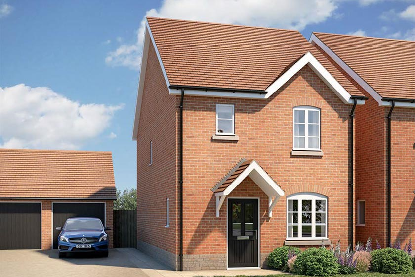 CGI of the exterior of The Croft type of 3-bed detached house at Newlands, Stoke Lacy.