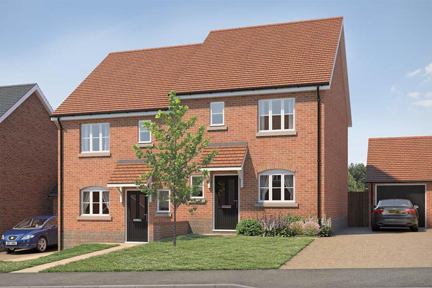 CGI of the exterior of The Eastnor type of 3-bed house at Newlands, Stoke Lacy.