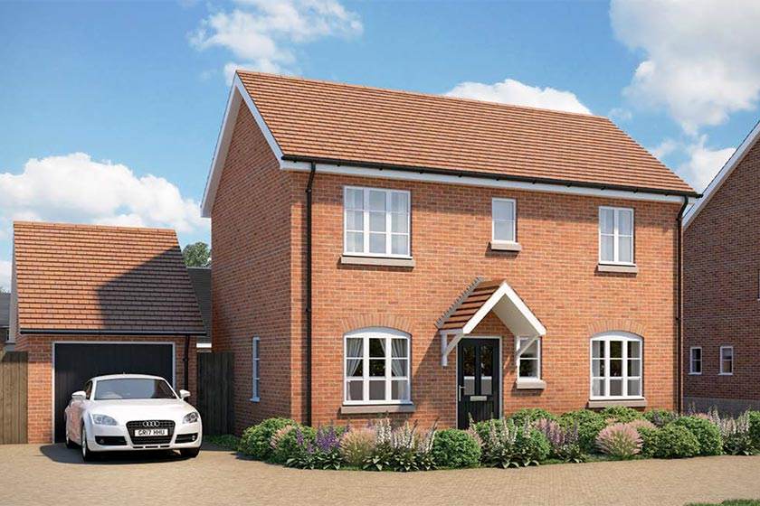 CGI of the exterior of The Goodrich type of 3-bed house at Newlands, Stoke Lacy.