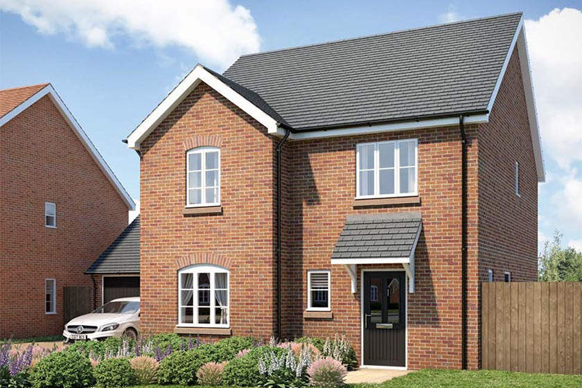 CGI of the exterior of The Ludlow type of 4-bed detached house at Newlands, Stoke Lacy.