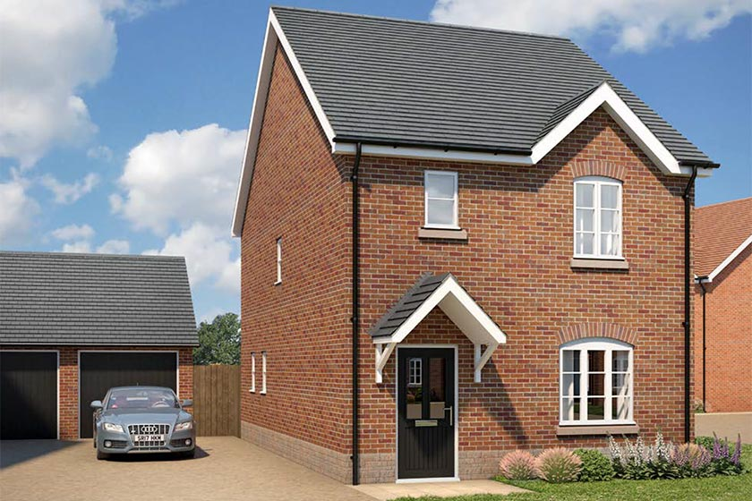 CGI of the exterior of The Wilton type of 3-bed detached house at Newlands, Stoke Lacy.