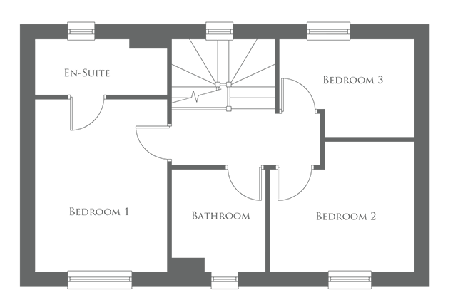 The first level floor plan of a 3 Bed home - The Goodrich