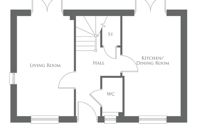The ground level floor plan of a 3 Bed home - The Goodrich
