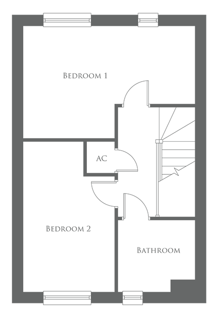 The first level floor plan of a 2 Bed home - The Hampton