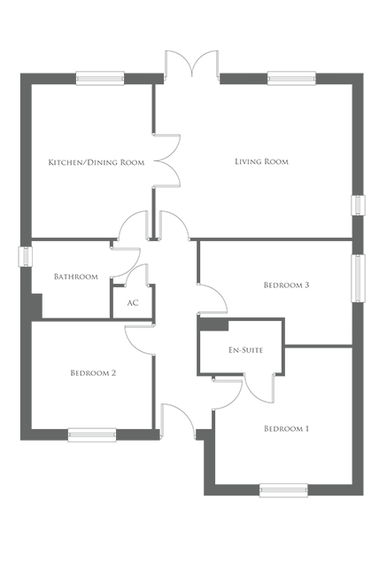 The ground level floor plan of a 3 Bed bungalow - The Wigmore