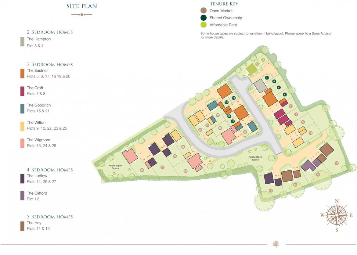 Site plan for Newlands housing development in Stoke Lacey, Herefordshire.