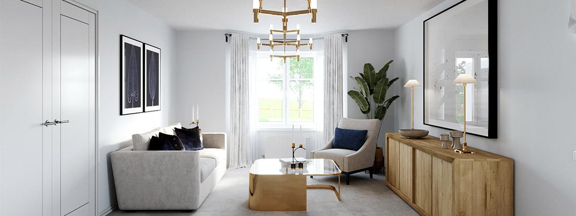 Example interior of a living room at the Bullwood Gardens development