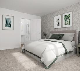 An example bedroom at Newlands housing development in Stoke Lacy