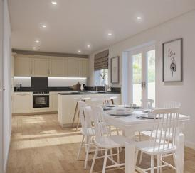 An example kitchen /diner at Newlands housing development in Stoke Lacy
