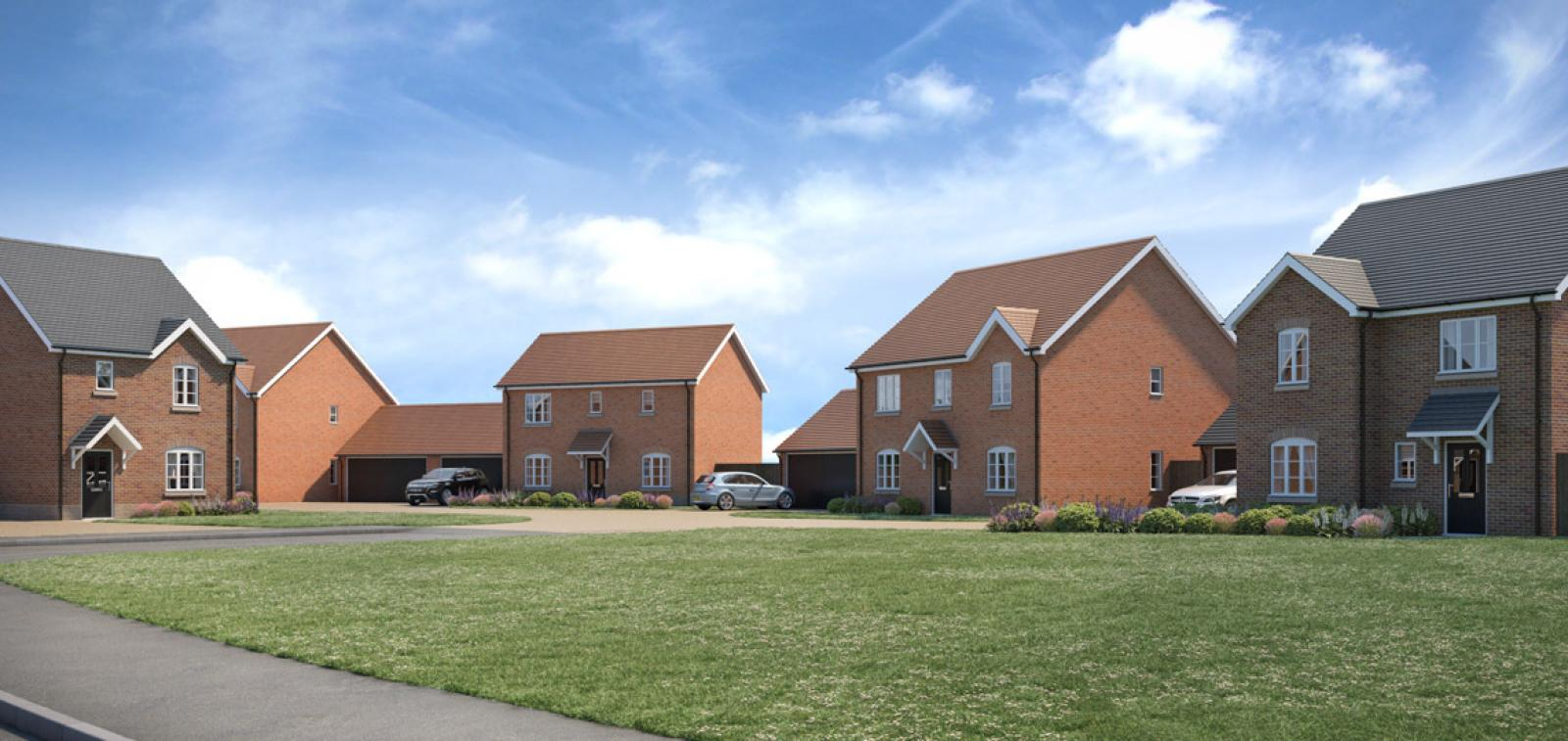 Street scene CGI of the Newlands development in Stoke Lacy